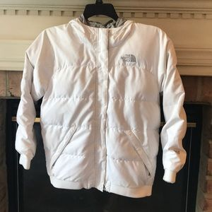 Girls white north face goose down 550 jacket L